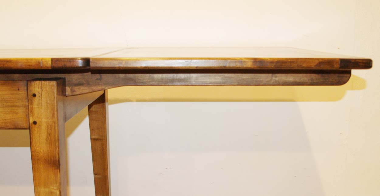 French Antique Style Double Extending Table, tapered runner