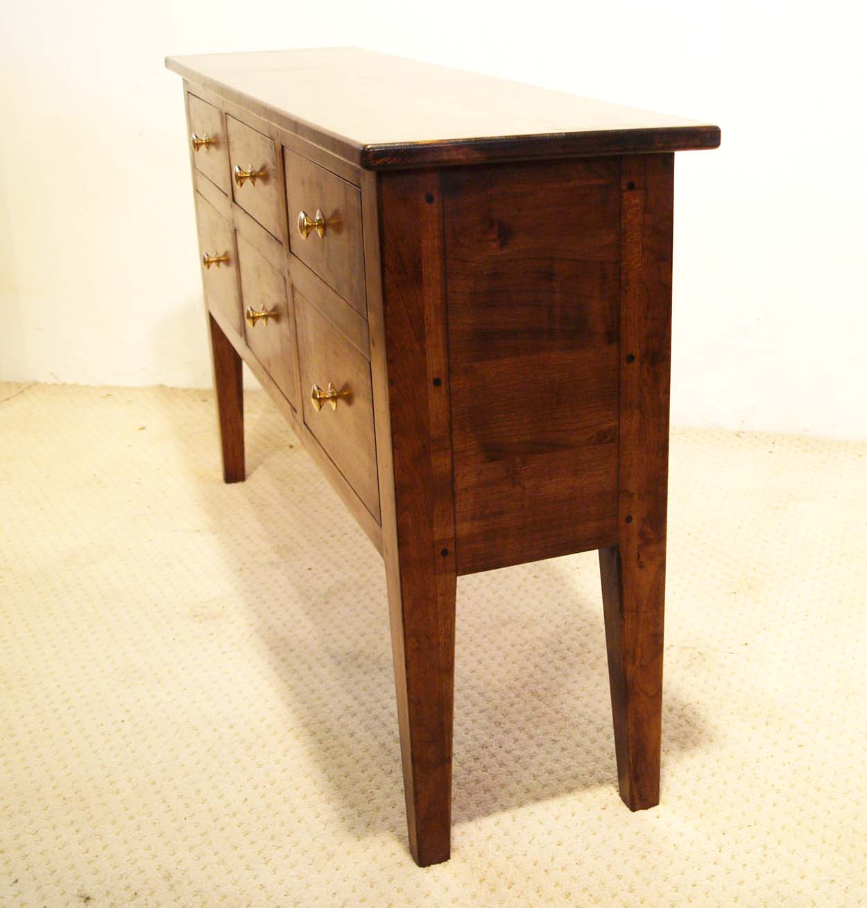 French Antique Style 6 Drawer Server, side elevation