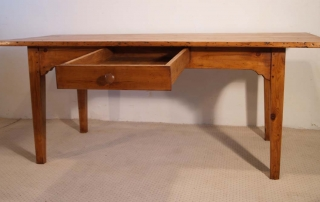 French Antique pine farmhouse kitchen table, deep drawer