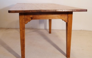 French Antique pine farmhouse kitchen table, end