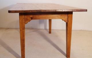 French Antique pine farmhouse kitchen table, end