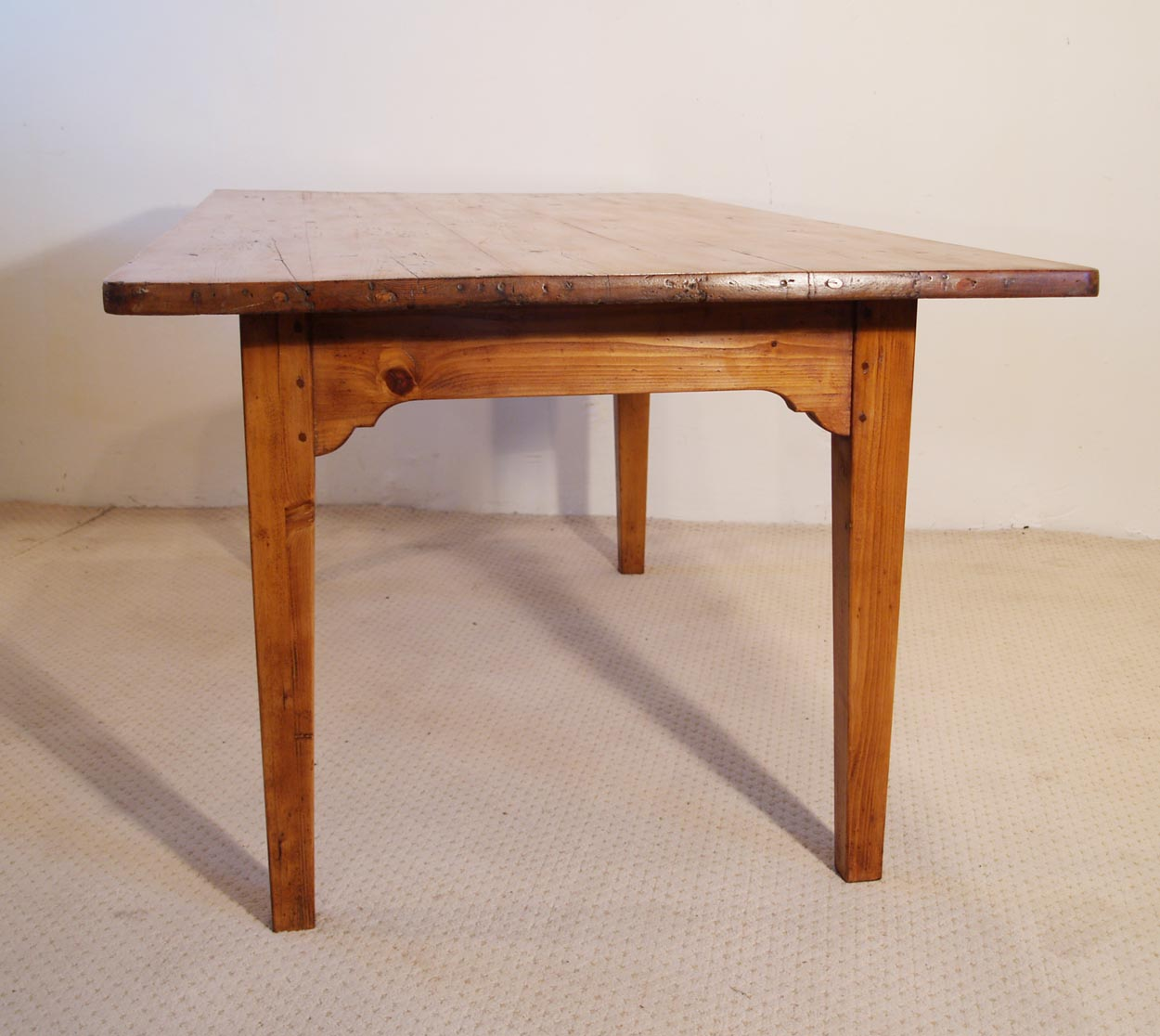 French Vintage Pine Farmhouse Kitchen Table End