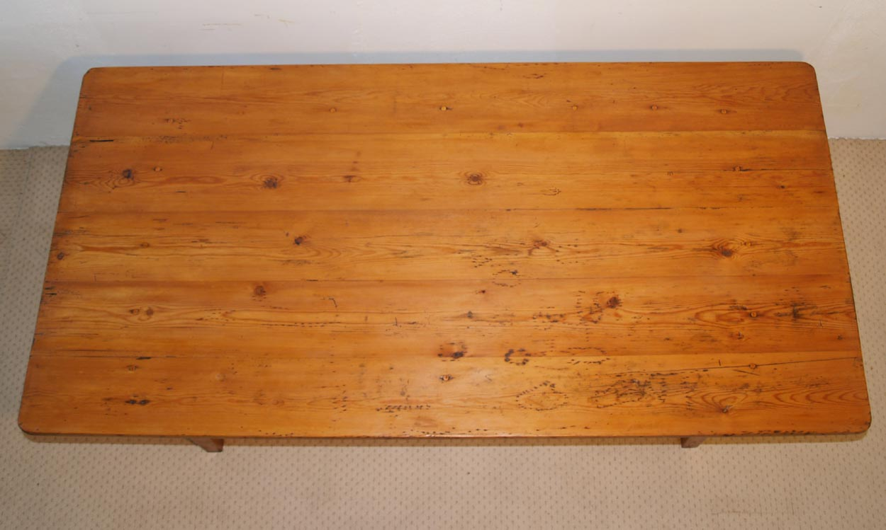 French Antique pine farmhouse kitchen table, top