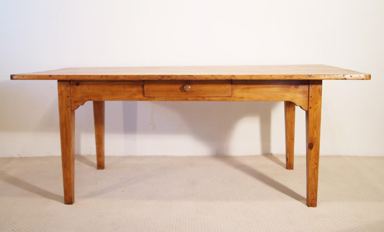 French Antique pine farmhouse kitchen table, front