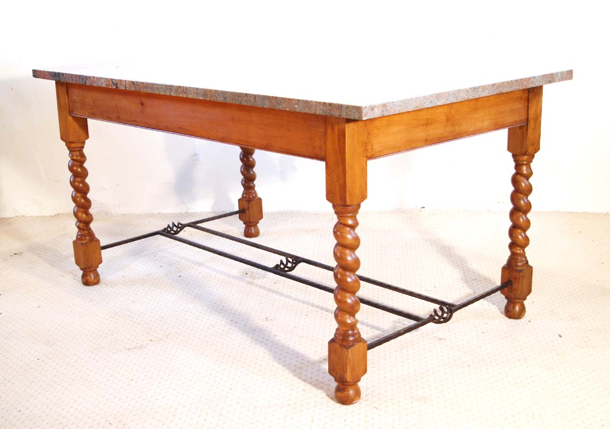 English Vintage Stone Top Farmhouse Dining Table
