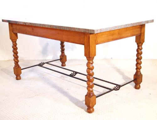 English Vintage Stone Top Farmhouse Dining Table with Barley Twist Legs