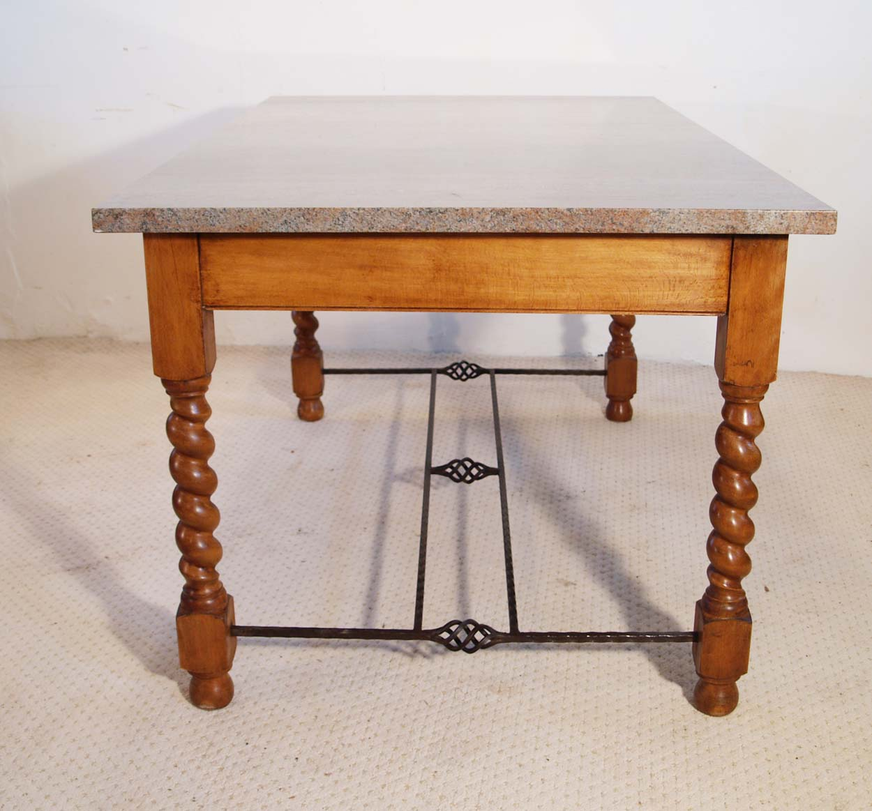 English Vintage Stone Top Farmhouse Dining Table, end