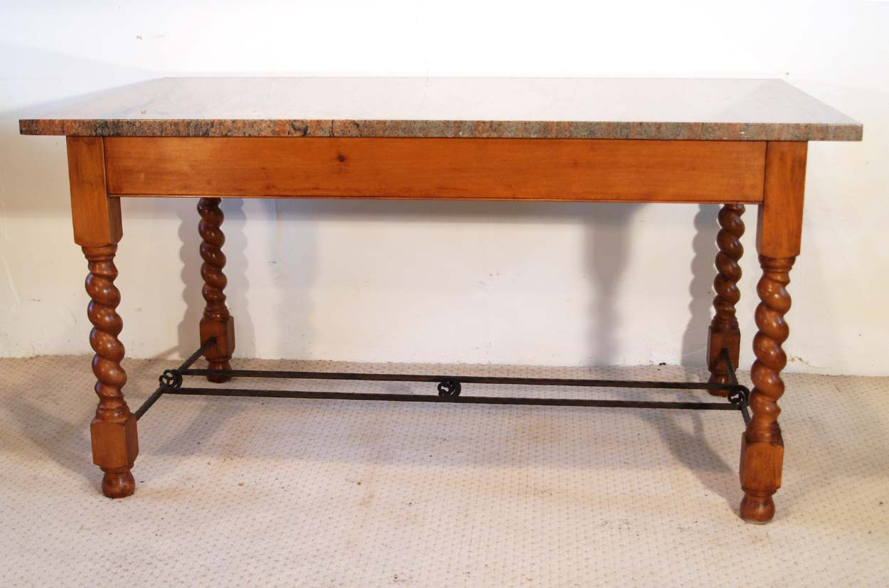 English Vintage Stone Top Farmhouse Dining Table, side