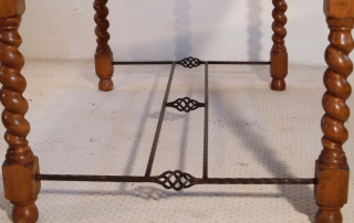 English Vintage Stone Top Farmhouse Dining Table, end stretchers