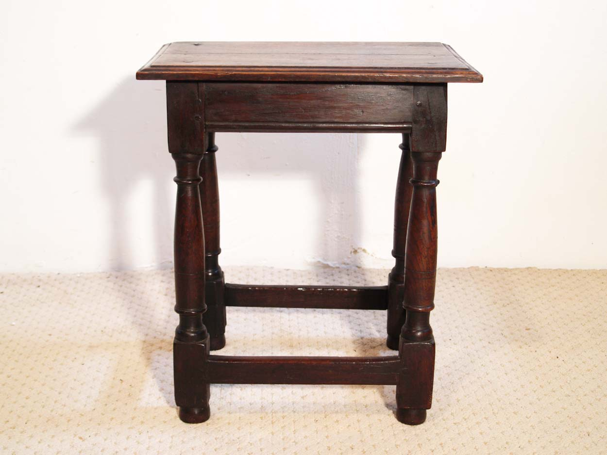 English antique vintage oak joint stool
