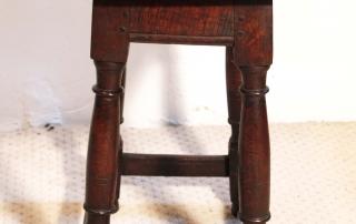 English antique vintage oak joint stool, end