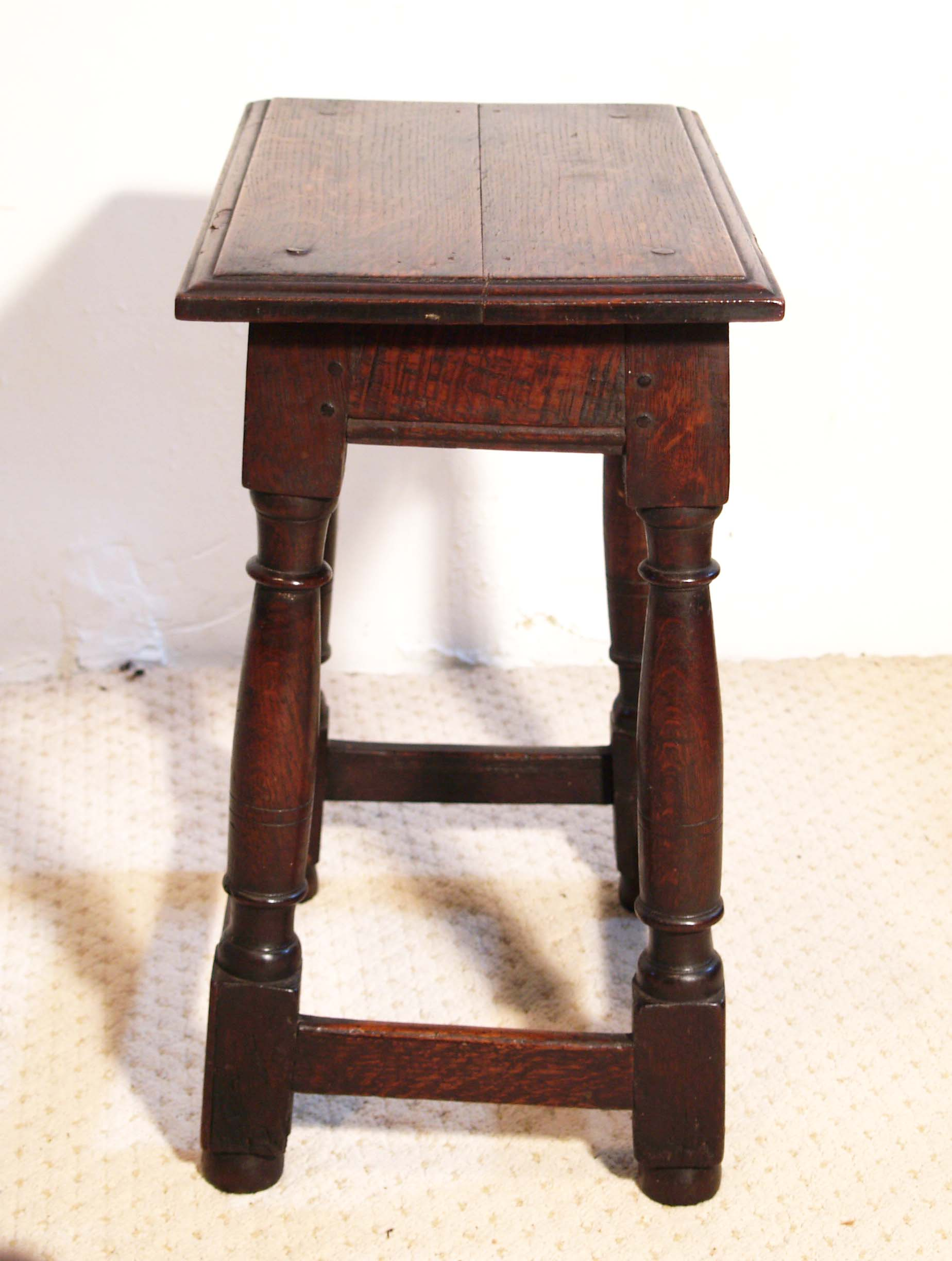 English antique vintage oak joint stool, end
