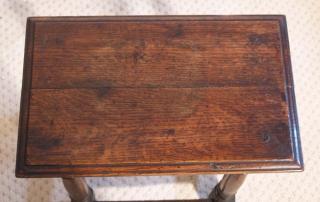 English antique vintage oak joint stool, top