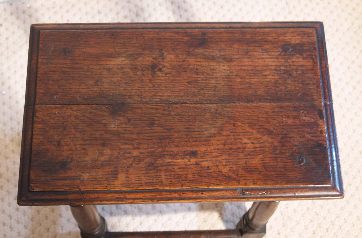 English antique vintage oak joint stool, top