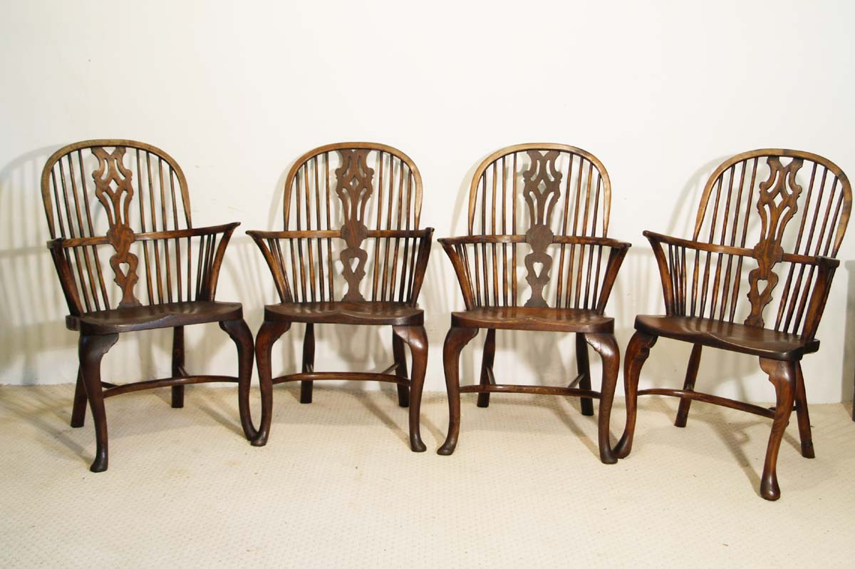 English Vintage Double Bow Windsor Chairs set of 4 : antique english windsor chairs - Cheerinfomania.Com