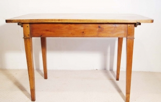 French antique vintage maple writing table, back