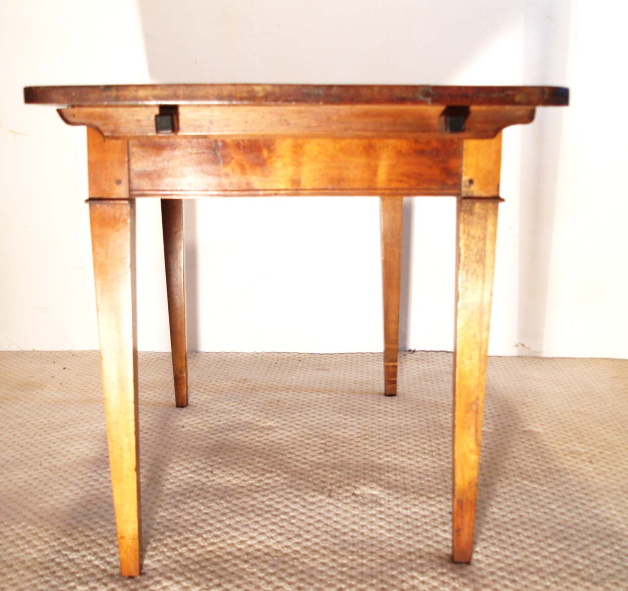 French antique vintage maple writing table, end