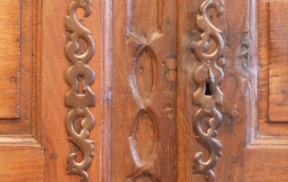 French Antique Vintage Oak Laiterie, Armoire, C 1780, escutcheon plates