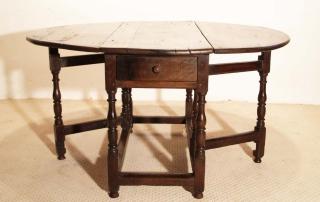 English Vintage Antique Oak Gateleg Table, drawer