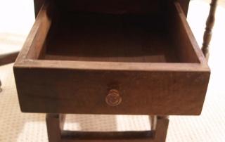 English Vintage Antique Oak Gateleg Table, open drawer