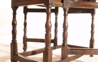 English Vintage Antique Oak Gateleg Table, turnings