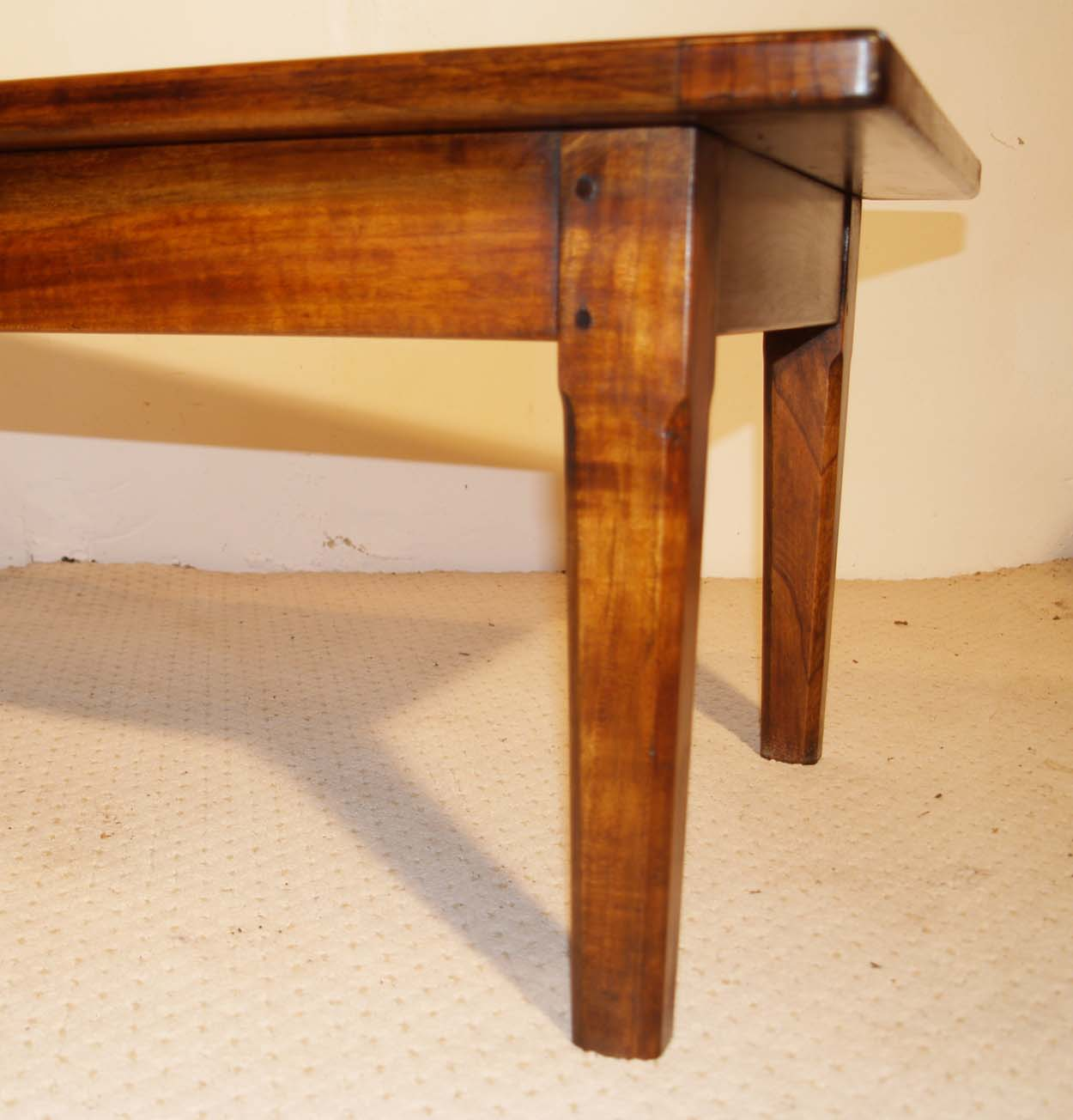 French Antique style Cherry Coffee Table, chamfered tapered leg