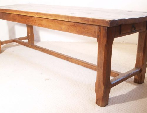 Vintage Oak Refectory Table with H stretchers and drawer.