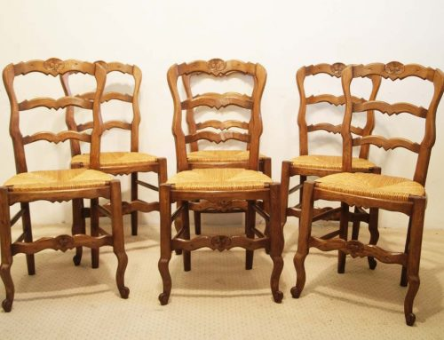 6 French vintage oak carved chairs with rush seats.