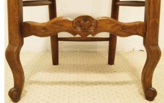 6 French vintage oak carved chairs with rush seats carved stretcher