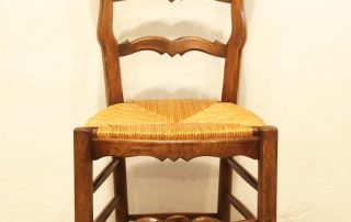 6 French vintage oak carved chairs with rush seats front