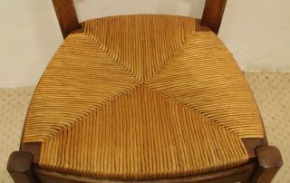 6 French vintage oak carved chairs with rush seats seat