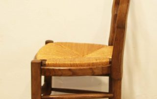 6 French vintage oak carved chairs with rush seats side