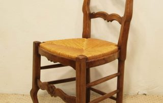 6 French vintage oak carved chairs with rush seats side elvation