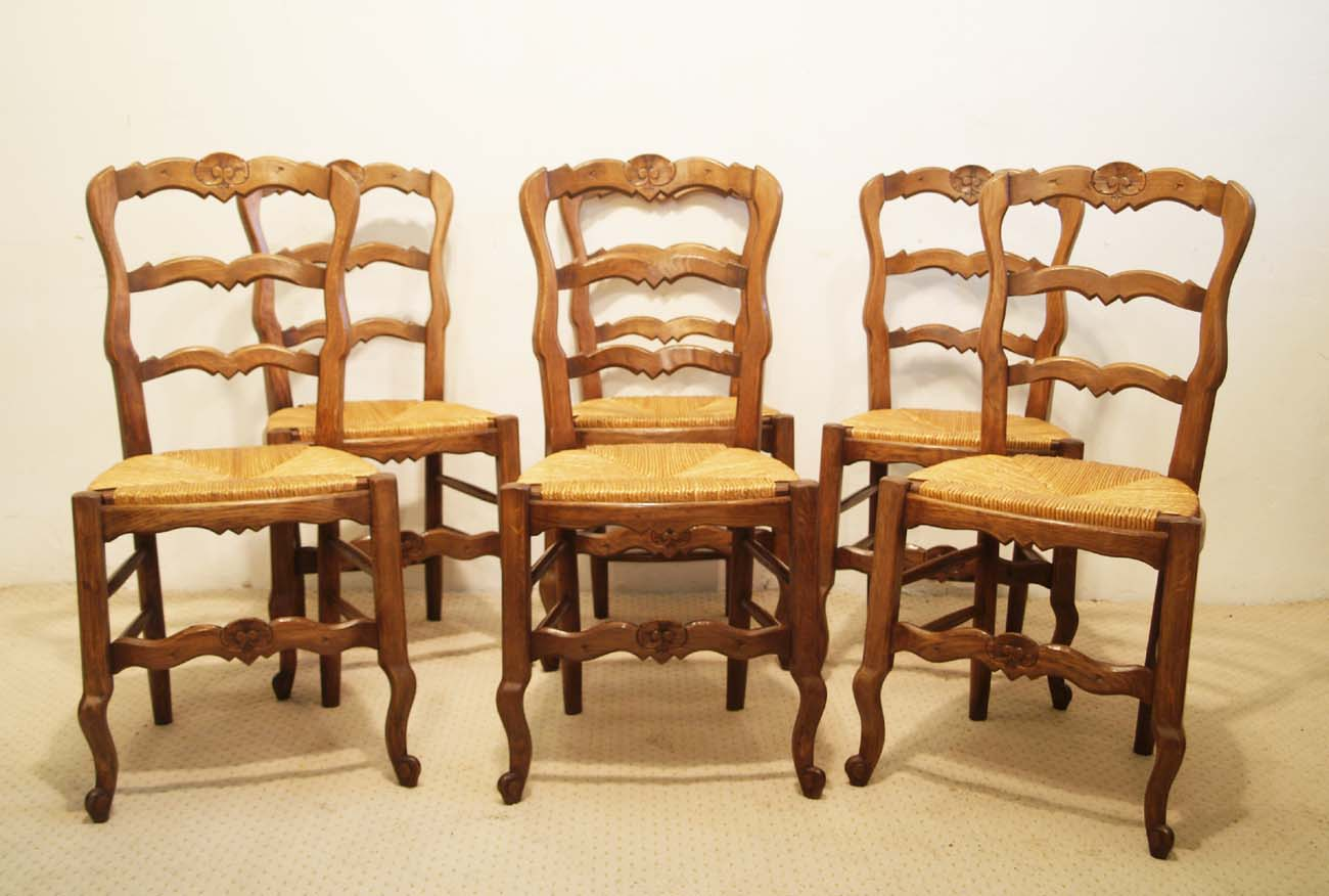 6 French vintage oak carved chairs with rush seats