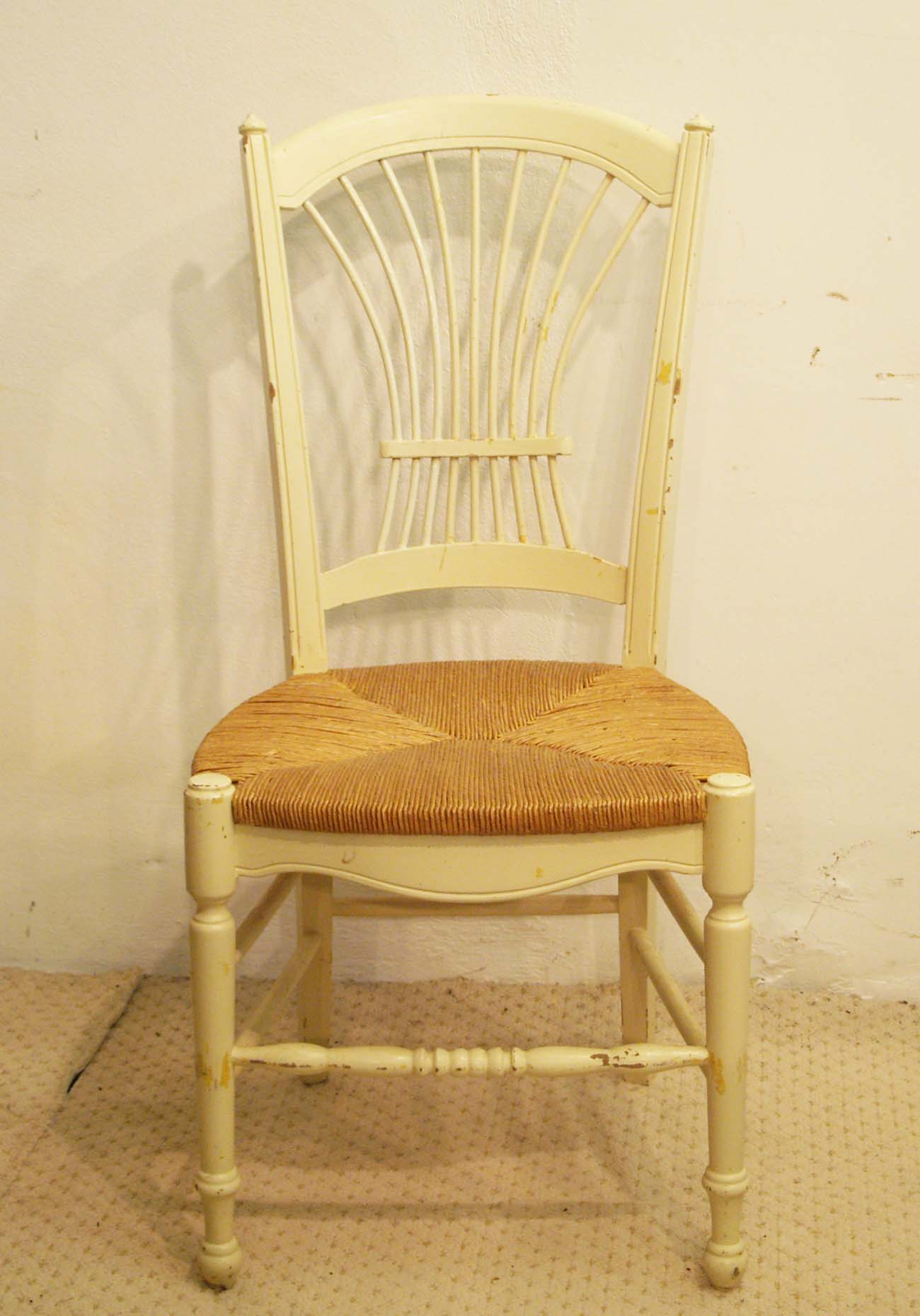 8 french vintage painted rush seat chairs 1
