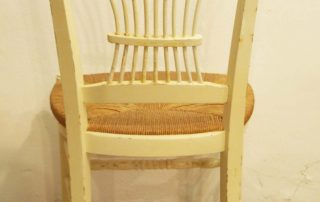8 french vintage painted rush seat chairs back 2
