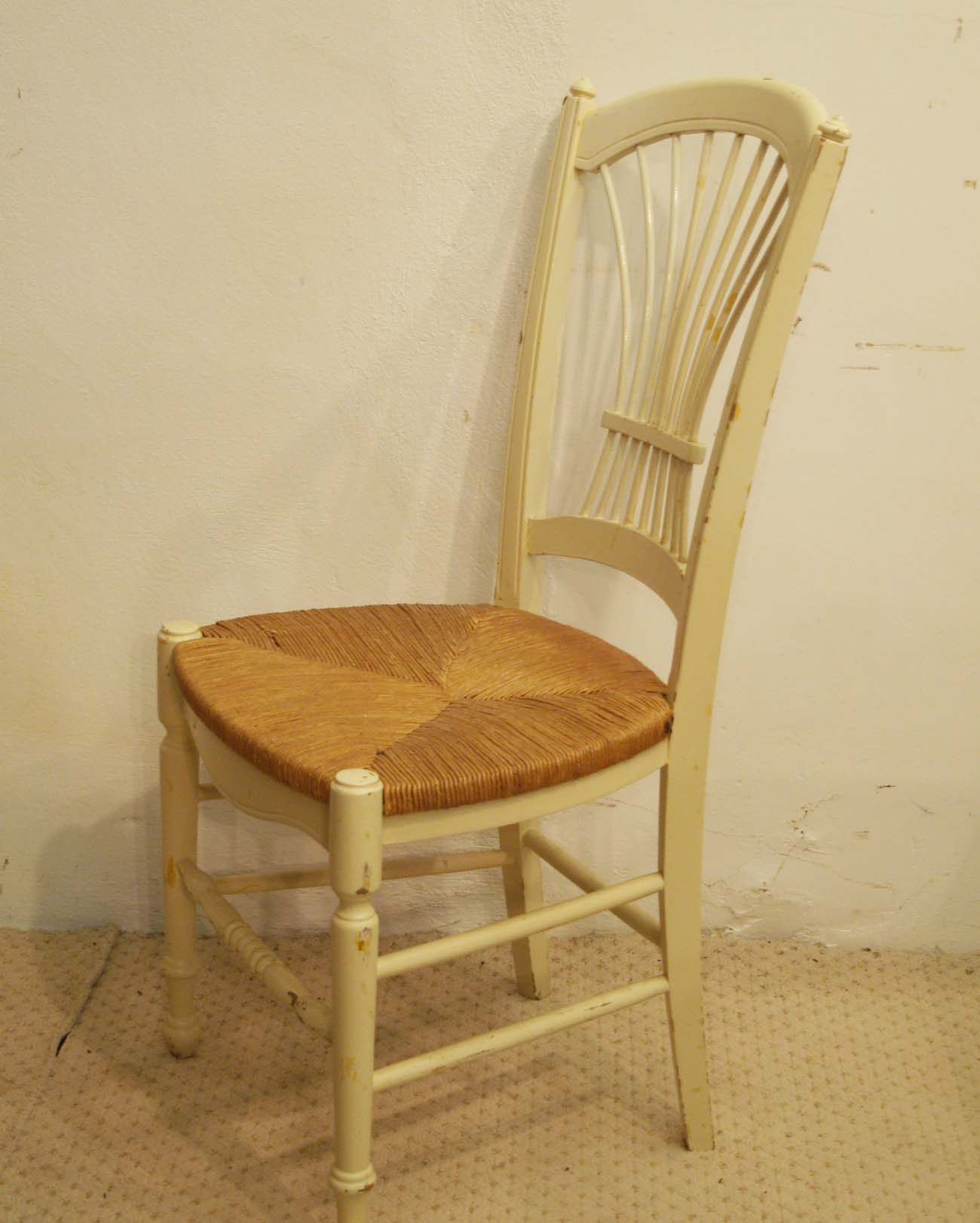 8 french vintage painted rush seat chairs side 1