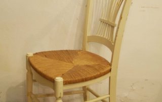 8 french vintage painted rush seat chairs side 2