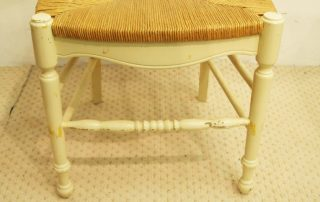 8 french vintage painted rush seat chairs turned legs and stretcher 2