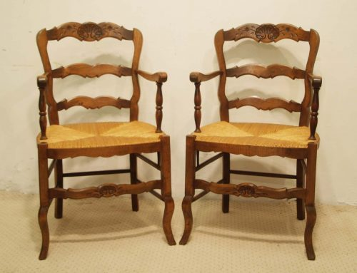 Pair French vintage beech fauteils with rush seats.