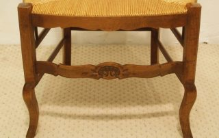 Pair French vintage fauteuils carved front rail