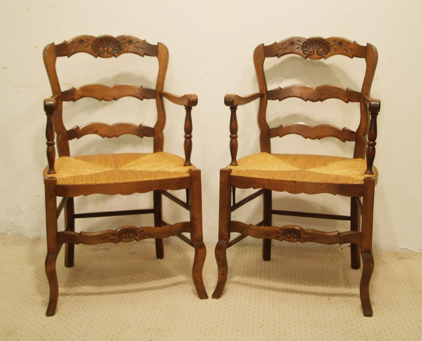 Pair French vintage fauteuils