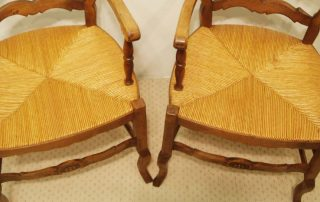 Pair French vintage fauteuilsrush seats